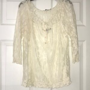 Lace Button down cream colored Blouse